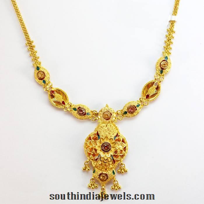 Simple gold Enamel Necklace