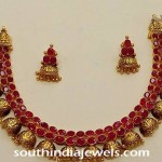 Antique Ruby Jhumka Necklace