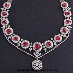Classic Diamond Necklace with Red Stones