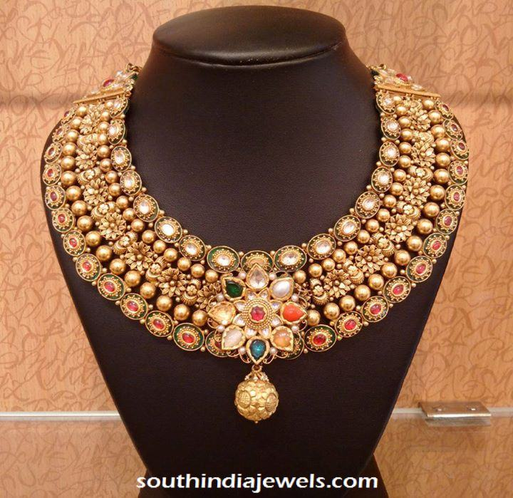 Gold Bridal Jodha Necklace with navaratna kundans from NAJ