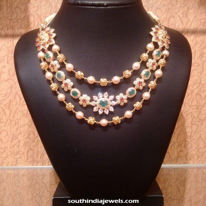 Gold Step Necklace with side mogappu