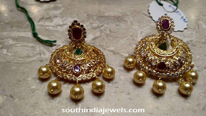 Gold Stone Chandbali design