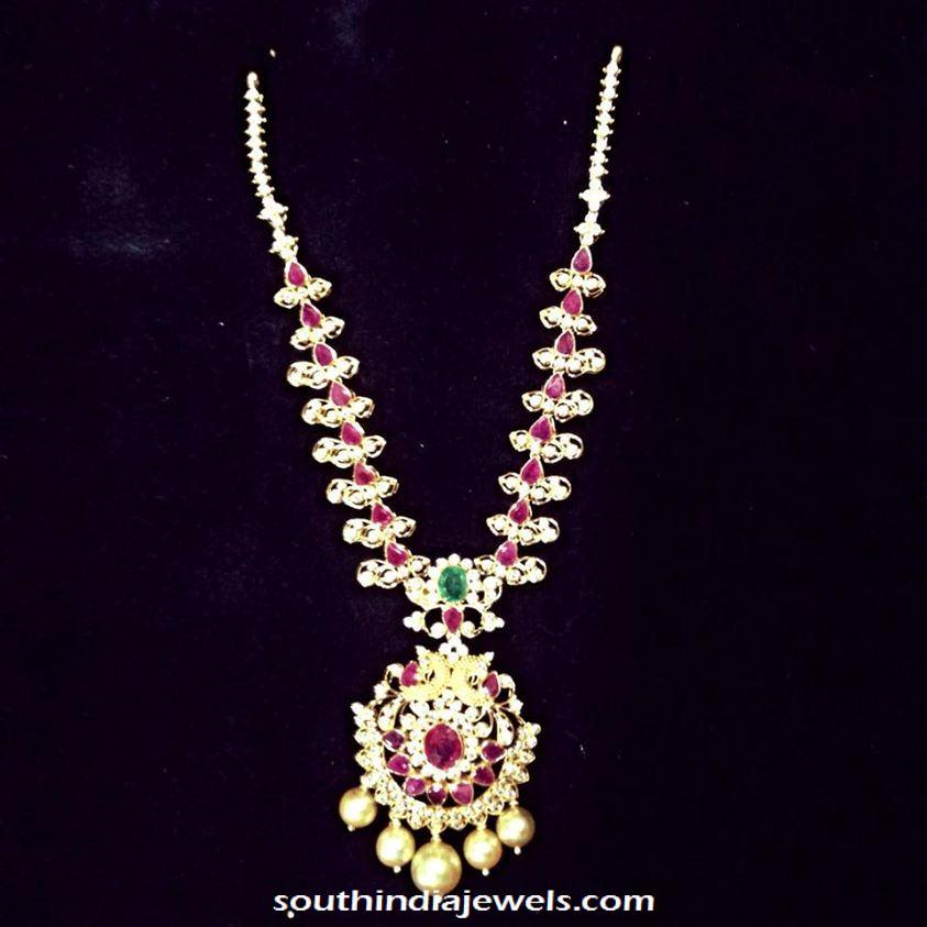 Light Weight CZ Stone Ruby Necklace from Sri Balaji Jewellers