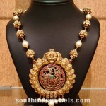 22K Gold Beaded Mala with Nakshi Pendant