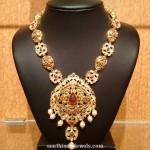 Gold Nakshi Long Necklace Design