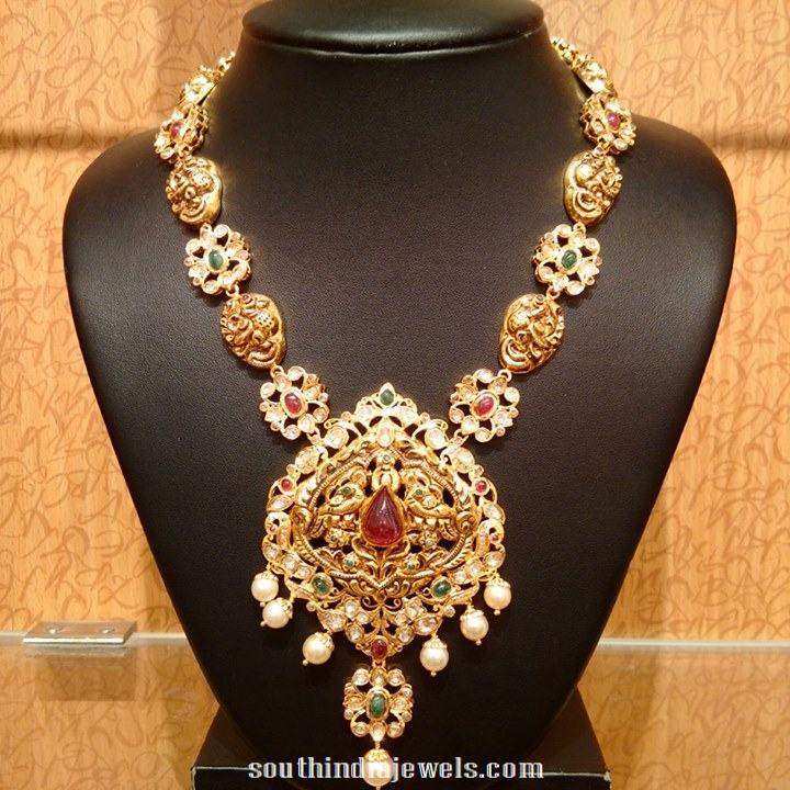 Gold Nakshi work peacock long necklace