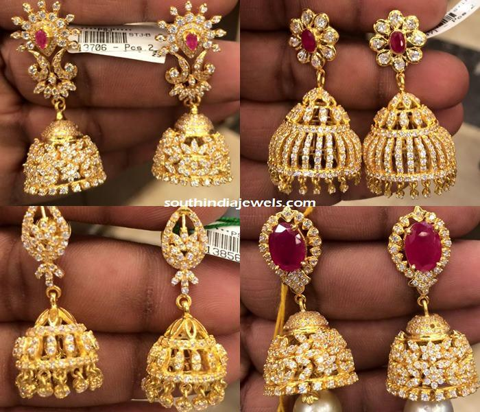 22k gold CZ Stone Jhumka designs 2015