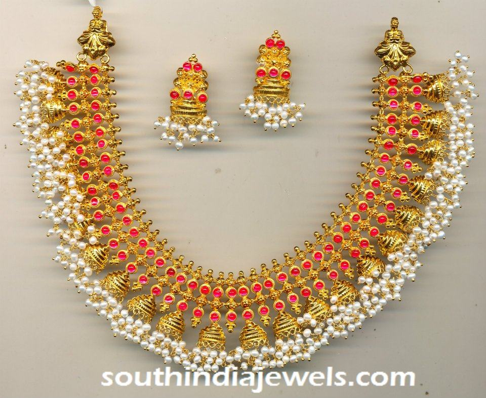 Antique gold pearl Jhumka Necklace Set