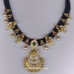 Black Thread Necklace with Pearls