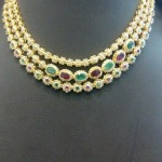 Gold Three Layer Stone Necklace Design