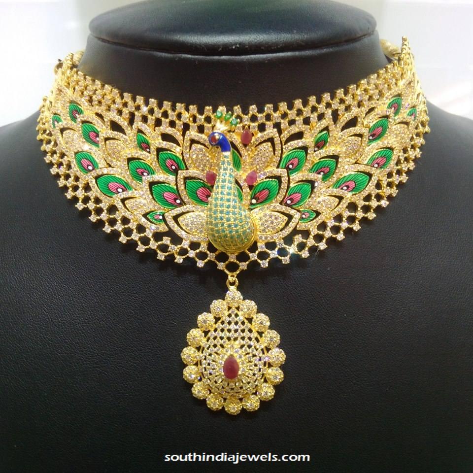 Designer Gold CZ Stone Necklace from NAJ