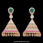 Diamond Jhumka with Rubies & Emeralds