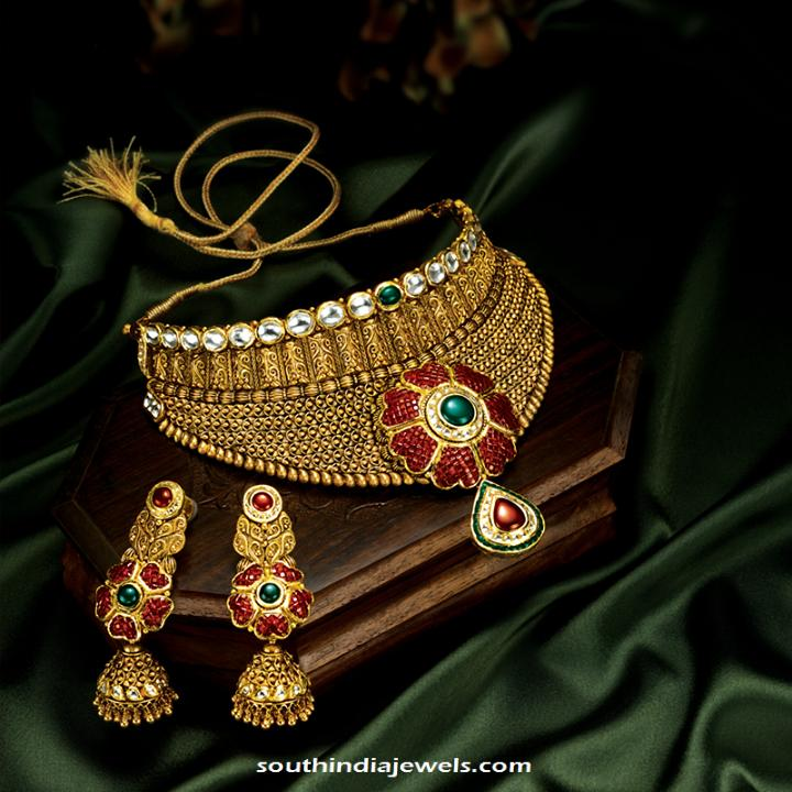 GRT Jewellers antque choker neckalce with earrings