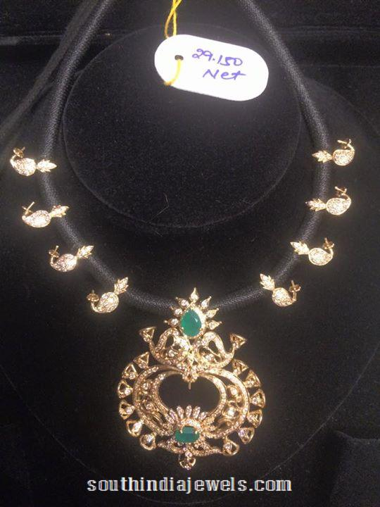 Gold Black Thread Necklace with Stone Pendant