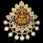 Gold Lakshmi Pendant with Pearls