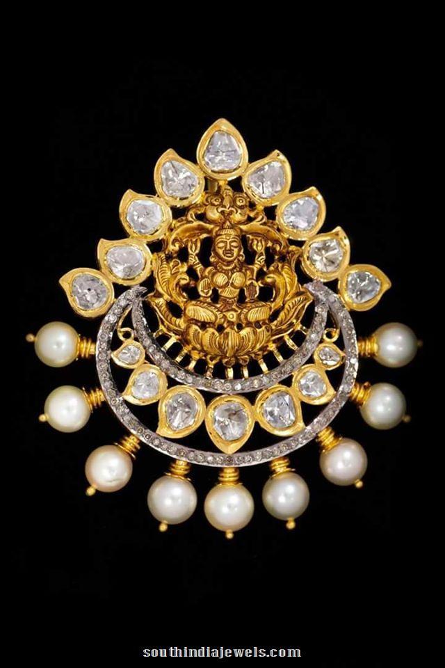 Gold Lakshmu Pearl Pendant temple jewellery