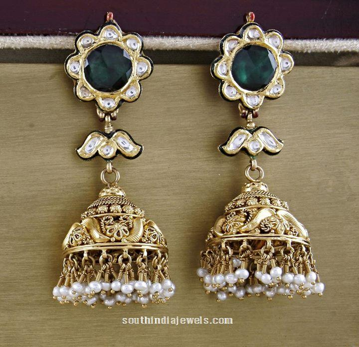 Gold antique jhumka from Manubhai jewellers