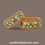 Gold Kundan Meenakari Bangles