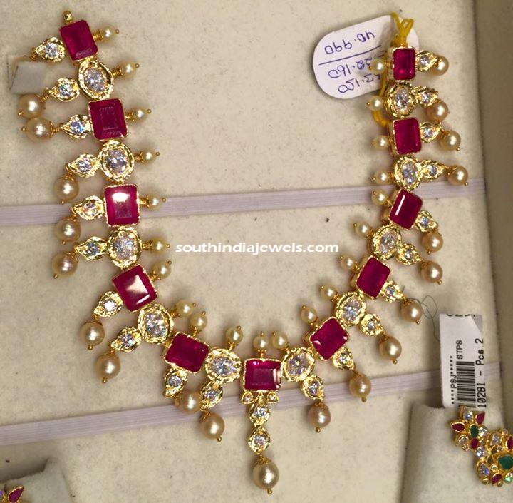 Gold ruby Pearl Necklace