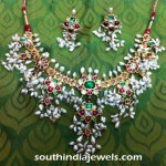 Gold Guttapusalu Necklace with Pearl Clusters