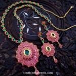 Imitation Ruby Emerald Necklace Set