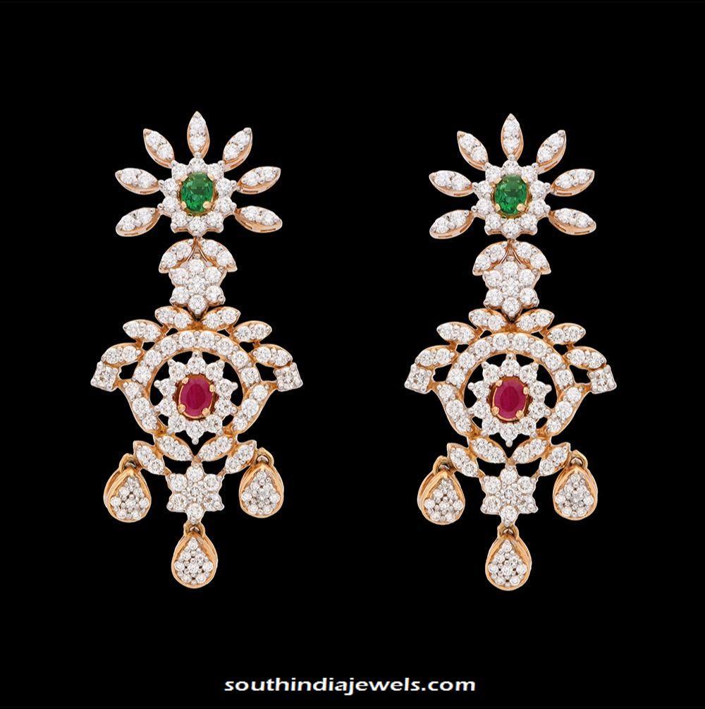 Party wear diamond earrings kothari jewellery
