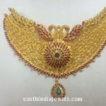Gold Ruby Peacock Choker Necklace