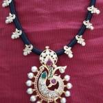 Gold Peacock Black Thread Necklace