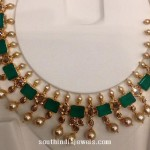 Gold Emerald & Pearl Necklace