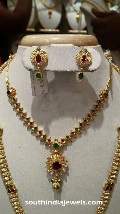 Gold Short Necklace with CZ stones