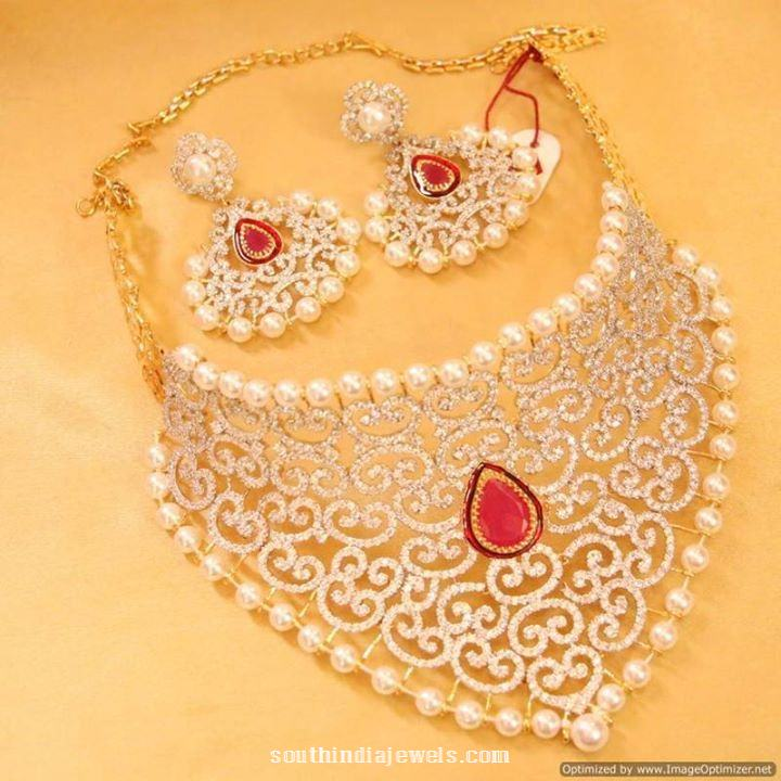 1 Gram Gold Grand Choker Necklace with earrings