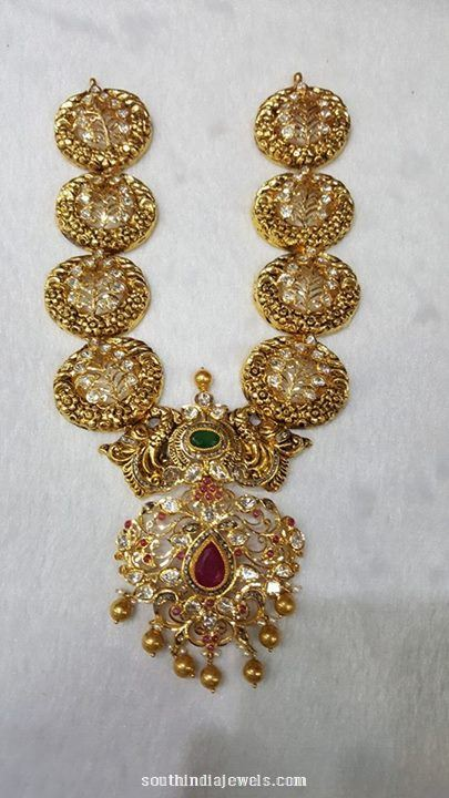 Gold Antique Long Necklace wih weight details