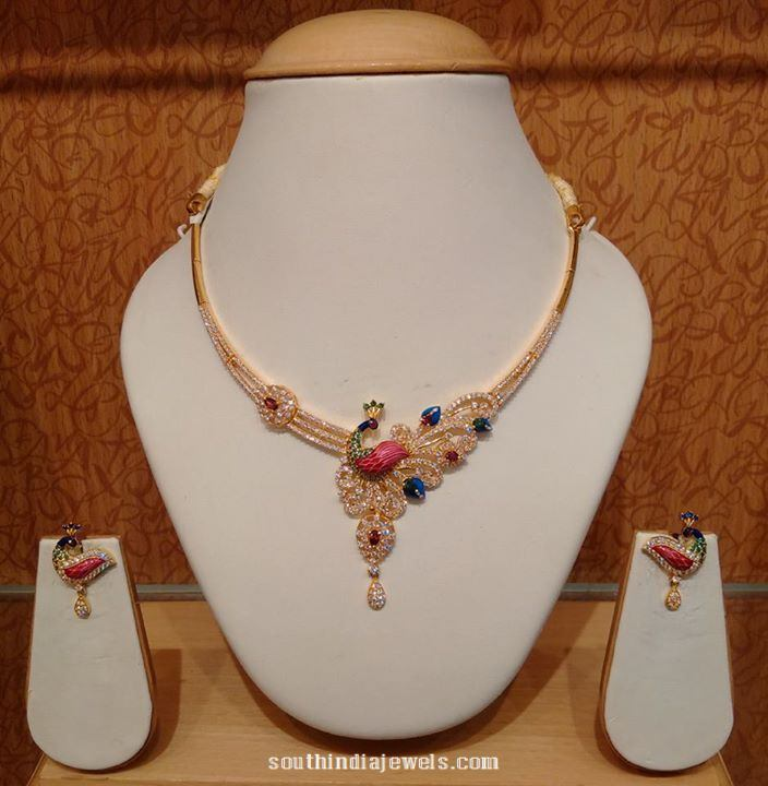 22K gold short peacock necklace with earrings