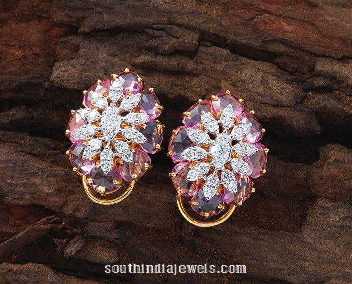 Desginer diamond ear studs from creations jewellery