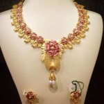 Designer Gold Floral Necklace with Earrings