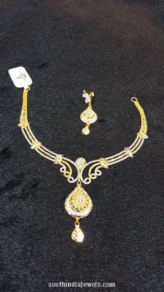 Designer gold short necklace