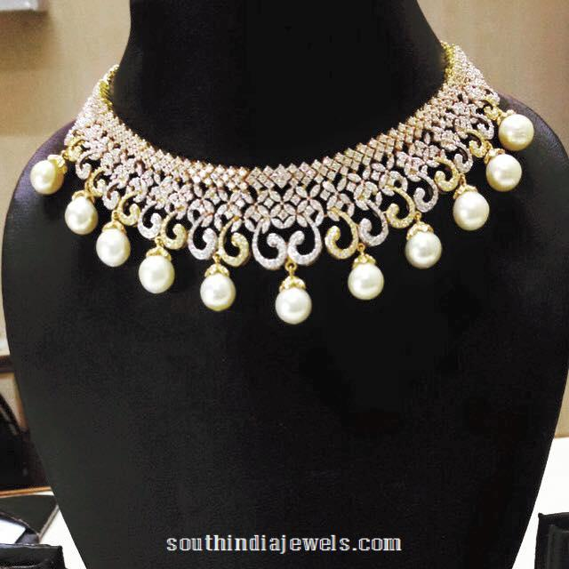 Diamond choker necklace with pearls from parnicaa