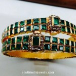 Gold Antique Emerald Bangle with Uncut Diamonds