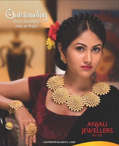 Gold Jewellery Floral Necklace from Anjali Jewellers