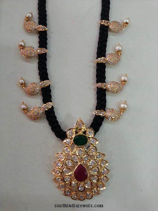 Gold Black Thread Chain Necklace
