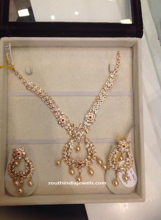 Gold Stone necklace with earrings