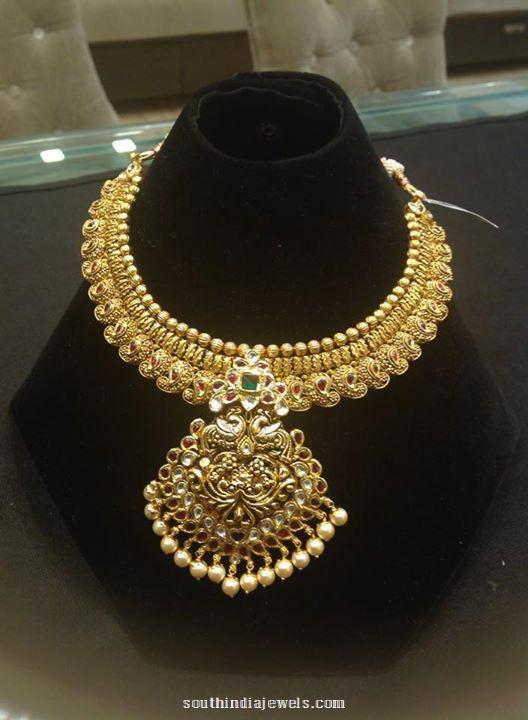 22k gold  grand attigai necklace design