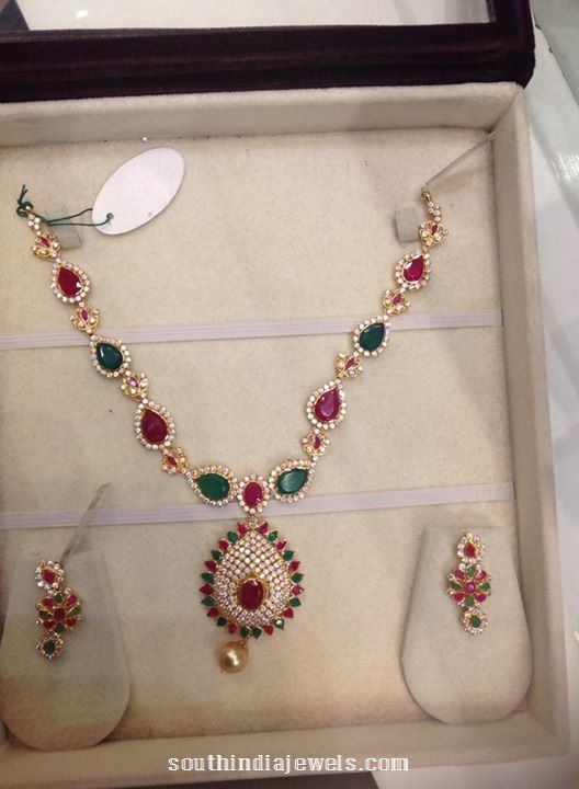 Multi color gold stone necklace from psj
