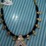 22k Gold Black Thread Emerald Necklace
