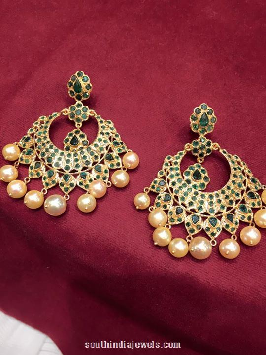gold emerald chandbali
