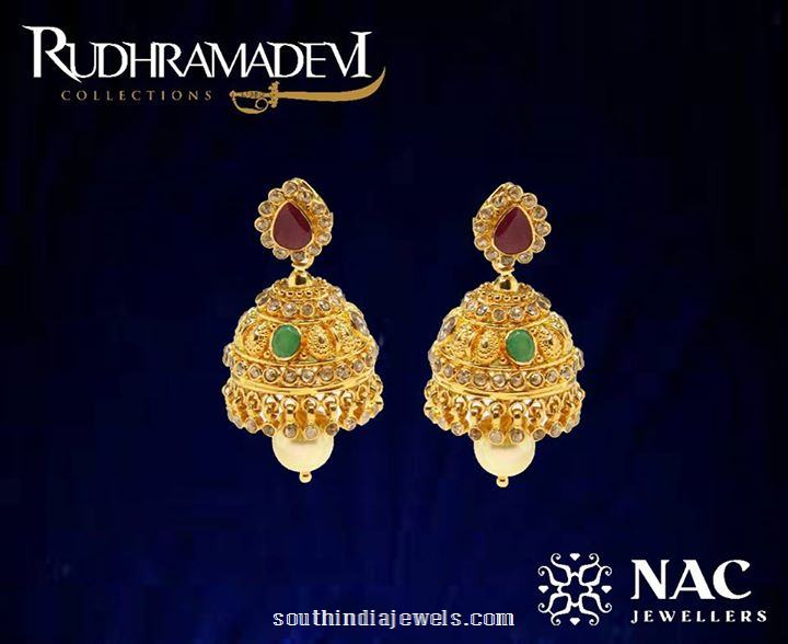 Gold Jhumka Designs from NAC Jewellers Rudramadevi collections