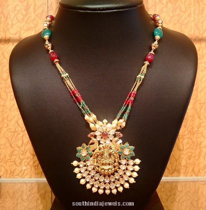 Light Weight Gold Pendant Mala Necklace