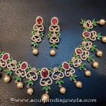 One Gram Gold Green Stone Necklace Set