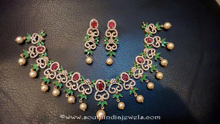 1 Gram Gold Green Stone Necklace Set with Price