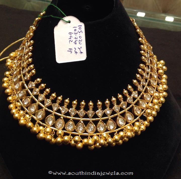 105 grams gold polki necklace